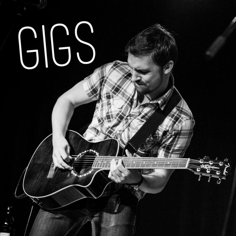 """Gigs Button auf der Startseite des Singer und Songwriters """"The Jam Man"""" alias Robert Braun"""