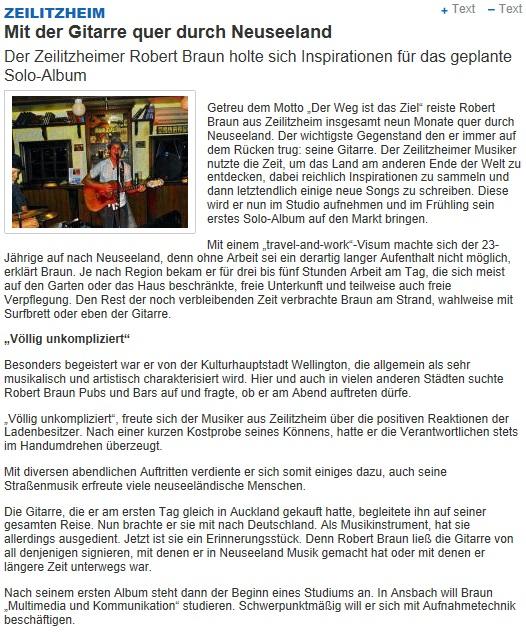 Artikel vom 01.02.2013 in der Main Post über den Jam Man